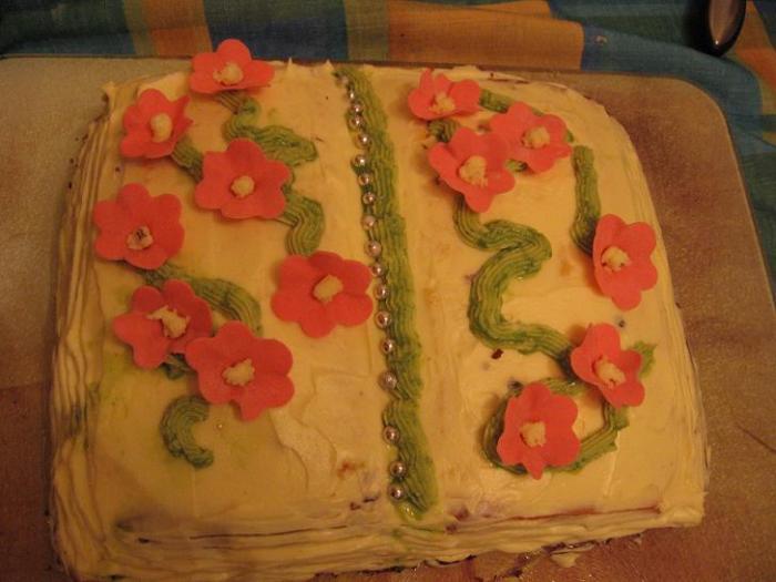 Торт Поздравительная книжка (раскрытая)