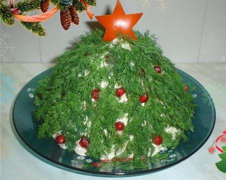 "Новогодний рецепт салата ""Елочка гори"""