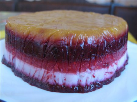 Новогодний рецепт слоёного торта-желе