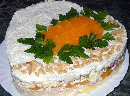"""Новогодний рецепт салата """"Апельсиновый рай"""""""