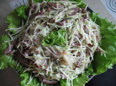 Новогодний рецепт салата из говядины с сыром