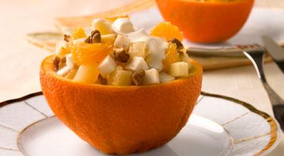 Рецепт на 14 февраля - Салат в апельсиновых корзиночках