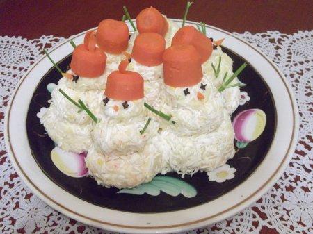 Рецепт на Старый Новый год крабовой закуски Снеговик