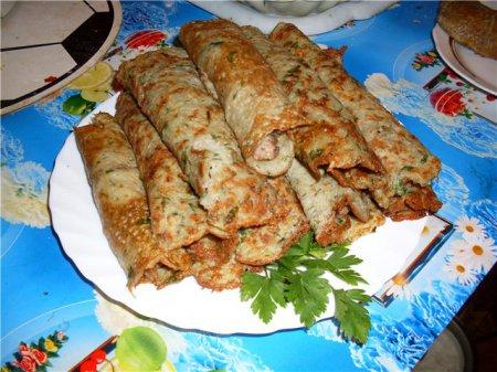 Рецепт укропных блинов с мясом - рецепт блинов на Масленицу