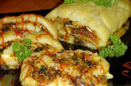 Рецепт постного картофельного рулета с грибами и овощами