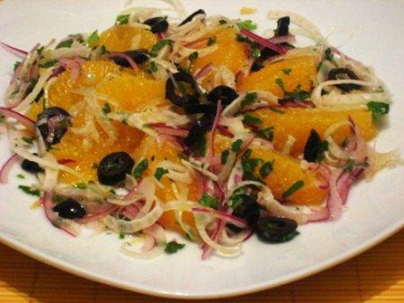 Рецепт постного салата из оливок и апельсинов