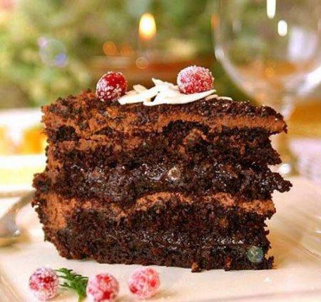 Рецепт шоколадного торта с клюквой