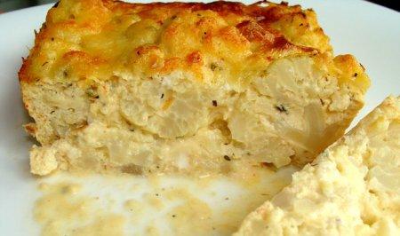 Рецепт пирога с цветной капустой в сырной заливке