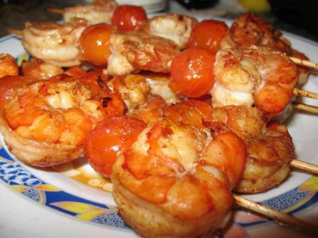 Рецепт креветок на шпажках с соусом терияки