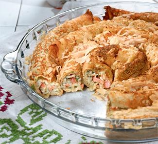 Рецепт - Блинный пирог со шпинатом на Масленицу