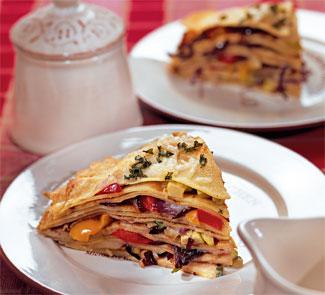 Рецепт - Блинчатый торт с овощами на Масленицу