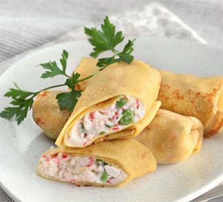 Рецепт - Блинчики карри с крабовым мясом