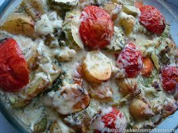 Запеченные овощи с соусом.