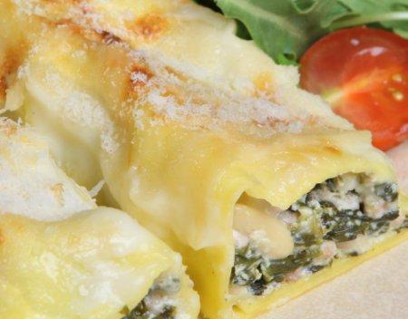 Рецепт каннелони с рикоттой и шпинатом