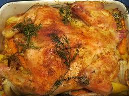 Курица с картофелем и грибами.