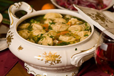 Рецепт - Бульон с вантонами из креветок и свинины