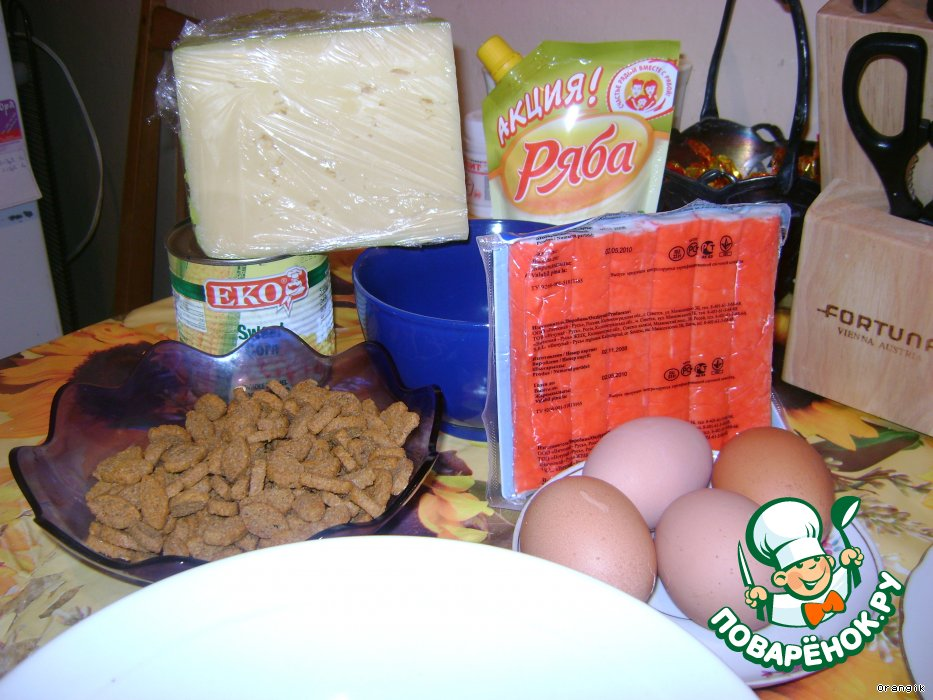 Салат с креветками дуэт