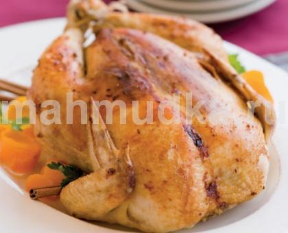Курица запеченная целиком с медом и горчицей