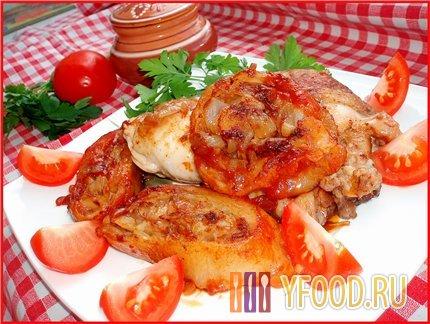 Голень куриная в томатно-луковой шубе – кулинарный рецепт