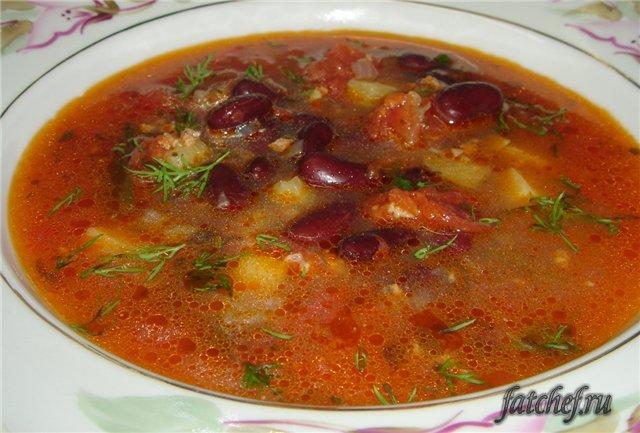 суп с красной фасолью и курицей рецепт с фото