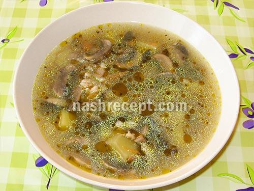 рецепт грибного супа с колбасным сыром