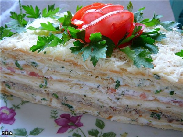 Рецепт салата из коржей наполеон с