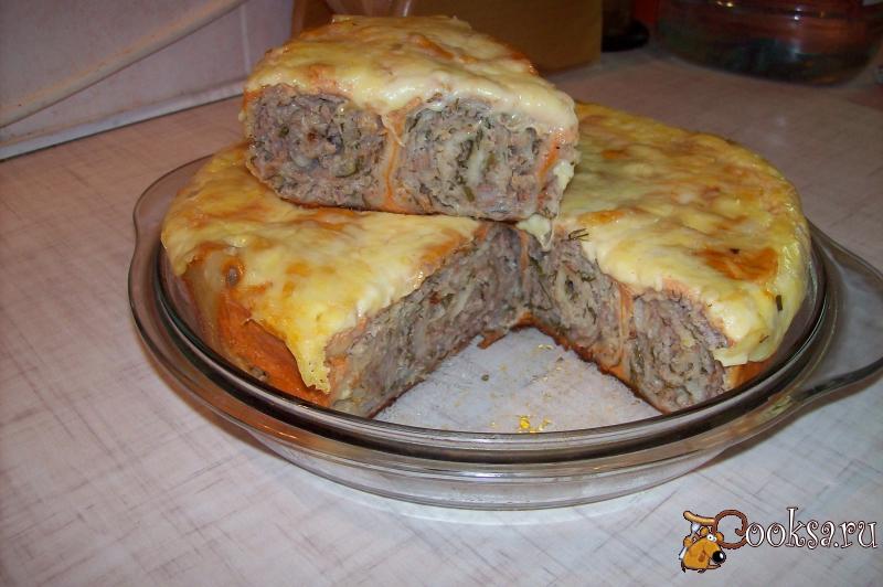 Рецепт мясного пирога с фаршем в мультиварке с фото