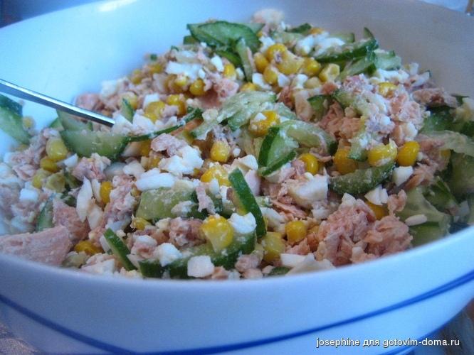 Рецепт салата из горбуши консервированной с фото