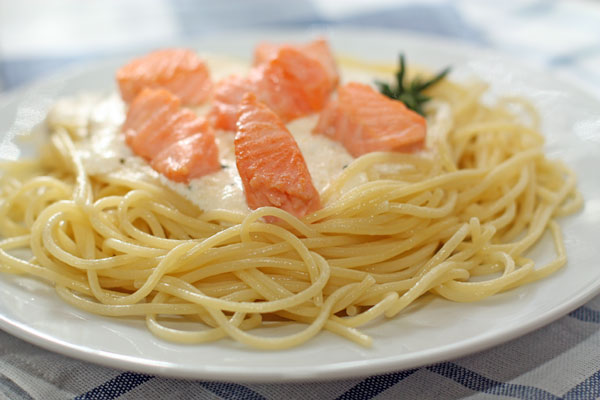паста фетучини лосось в сливочном соусе, рецепт