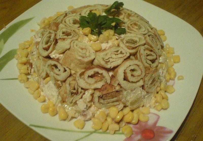 рецепт на салат из блинов