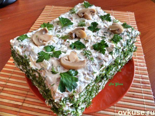 рецепт салата из коржей наполеон с курицей