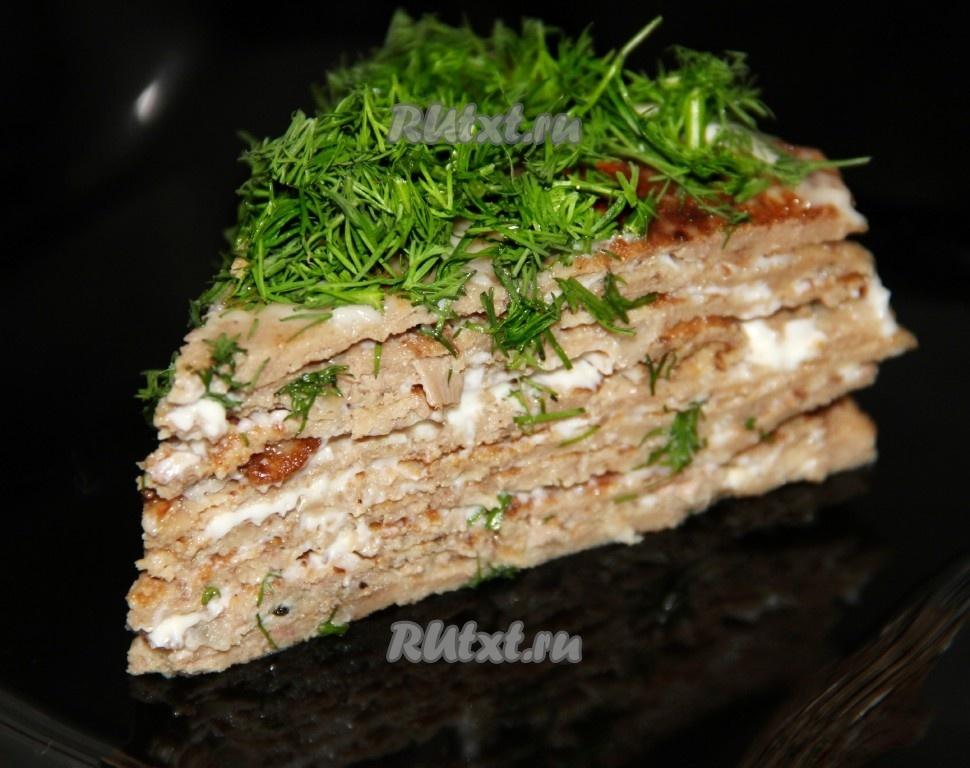 торт печеночный из куриной печени рецепт с фото