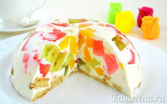 Рецепт битое стекло с фруктами и печеньем