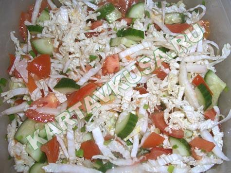 салат кальмары китайская капуста рецепты