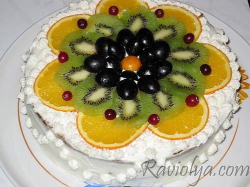 Как украсить торты с фруктами фото