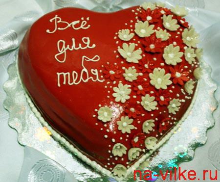 украшение торта в виде сердца фото