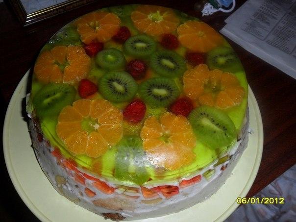 Торт битое стекло с фруктами и бисквитом рецепт