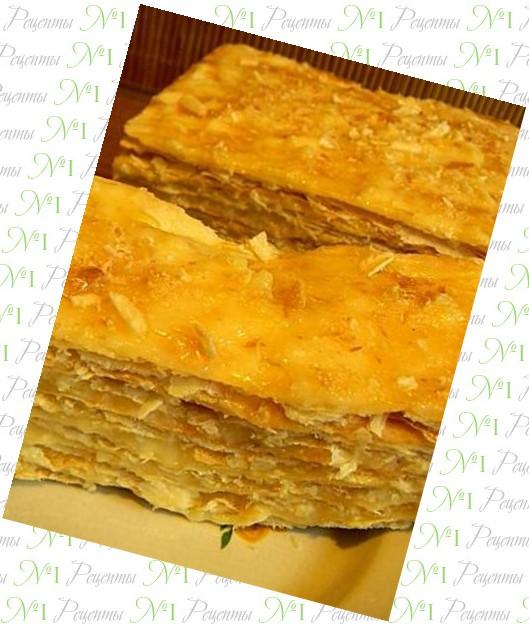 Пирог наполеон с рыбной консервой
