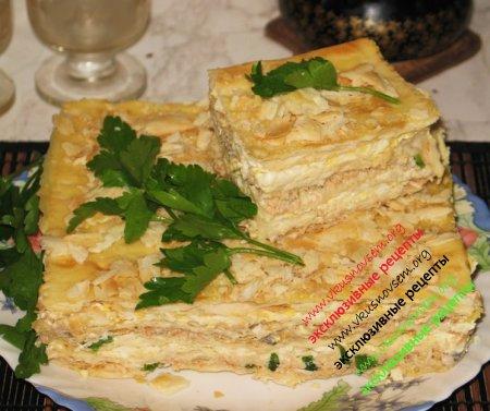Торт наполеон с рыбной
