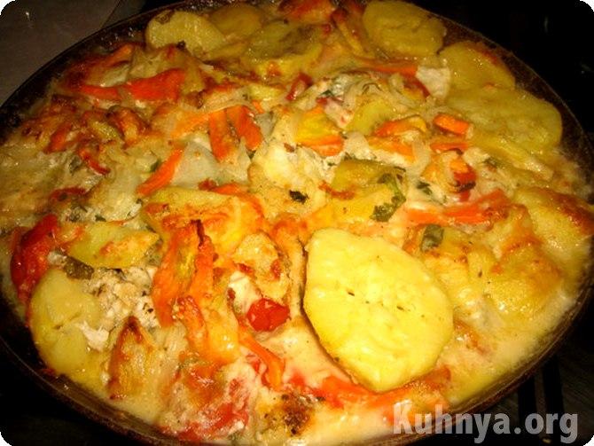 Рыба запеченная целиком с овощами в духовке рецепт 105