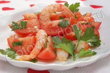 Рецепты салатов из креветок и помидор