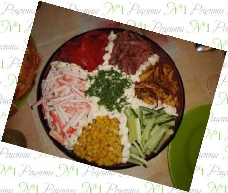 салаты рецепты с мясом и фри