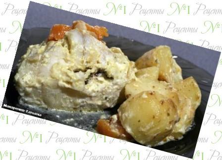 картошка с курицей и грибами в фольге в духовке рецепт фото
