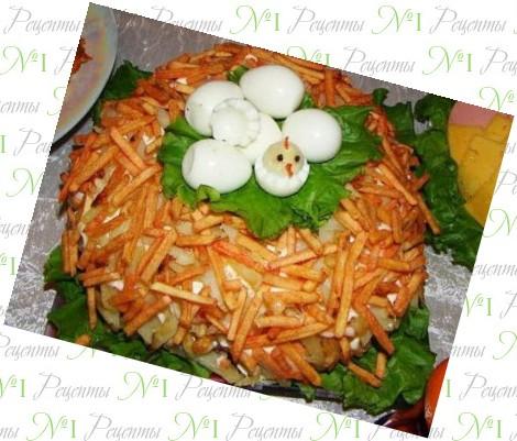 салат гнездо глухаря с языком рецепты