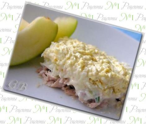 салат из консервированной скумбрии простой рецепт с фото