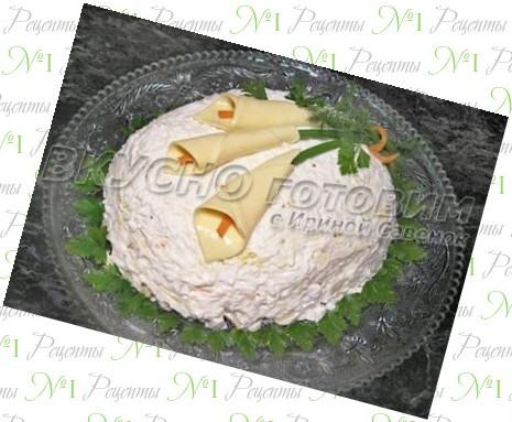 салат с курицей и ананасами каллы