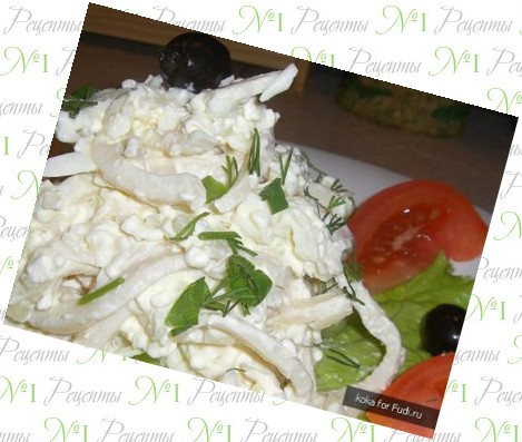 рецепт салата из креветок крабового мяса и кальмаров