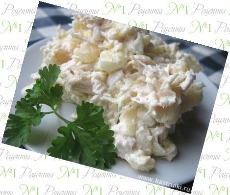 Салат в тарталетках с курицей и